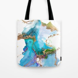 Abstract Marble Mermaid Gemstone With Gold Glitter Tote Bag