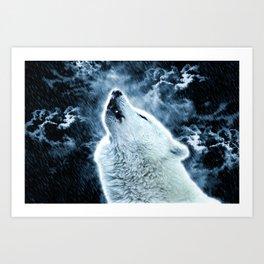 A howling wolf in the rain Art Print