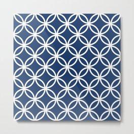 Cercle Lattice White on Navy Metal Print