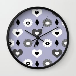daisy and heart all over print - monochrome Wall Clock