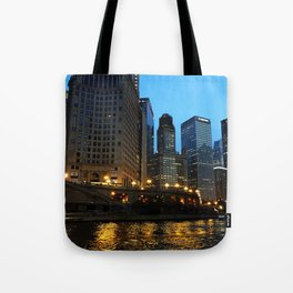 Chicago River and Buildings at Dusk Color Photo Tote Bag