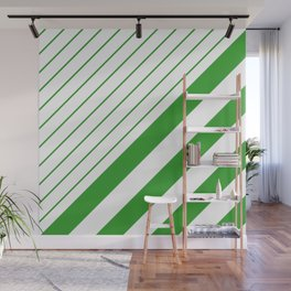 Green And White Stripes Pattern Wall Mural