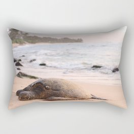 SHALLOW FOCUS PHOTOGRAPHY OF TURTLE LYING ON BEACH SAND IN THE MORNING Rectangular Pillow