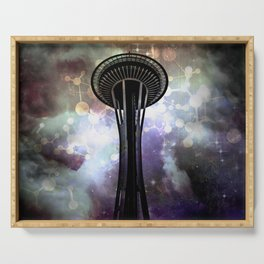Space Needle - Seattle Stars and Clouds at Night Serving Tray