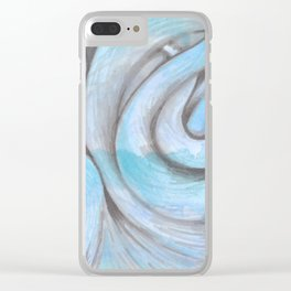 swirl (light blue) Clear iPhone Case