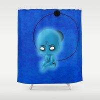 watchmen Shower Curtains featuring Chibi Dr. Manhattan by artwaste