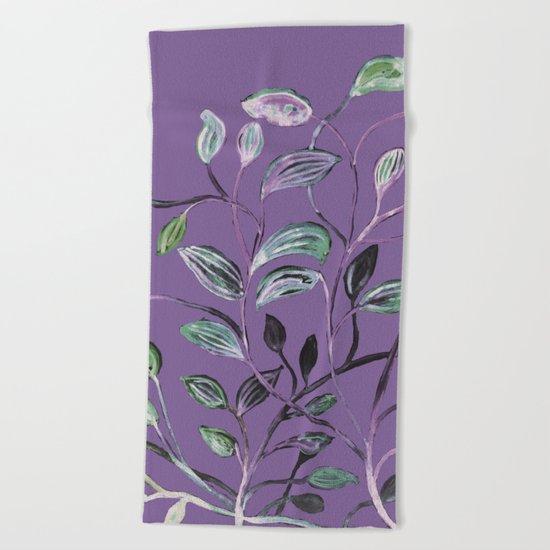 Silky Lavender Greenery Leaves Beach Towel