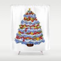 cape cod Shower Curtains featuring Cape Cod Hydrangea Christmas tree by KarenHarveyCox