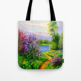 Lilac bloom on the river Tote Bag