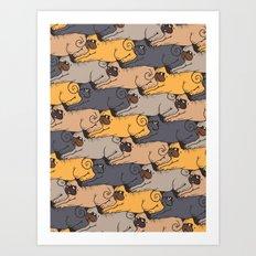 Pugs Tessellations Art Print