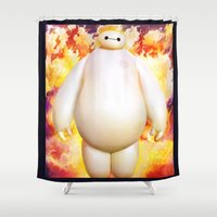 hero Shower Curtains featuring big hero  by ururuty