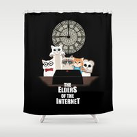 internet Shower Curtains featuring Elders of the Internet by Spicy Monocle