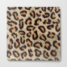 Brown spots leopard faux fur pattern Metal Print