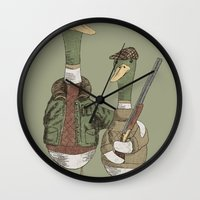 hunting Wall Clocks featuring Hunting Ducks by David Fleck