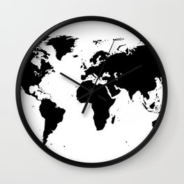 Black Ink World Map Wall Clock
