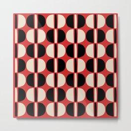 Mid Century Modern Geometric Pattern 139 Beige Red and Black Metal Print