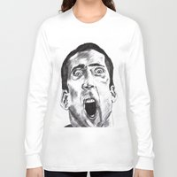 nicolas cage Long Sleeve T-shirts featuring NICOLAS CAGE in CHARCOAL face/off face off film movie cult by Radiopeach