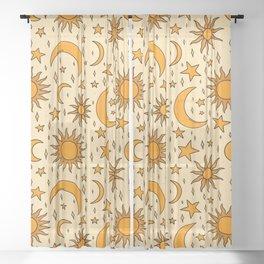 Vintage Sun and Star Print Sheer Curtain