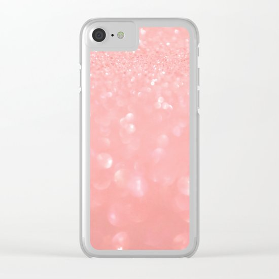 Pink luxury sparkling glitter pattern Clear iPhone Case