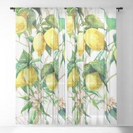 Lemon Tree. lemons kitchen art Sheer Curtain