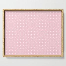 Mini White Polka Dots on Soft Pastel Pink Serving Tray
