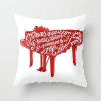 lyrics Throw Pillows featuring Piano lyrics by saralucasi