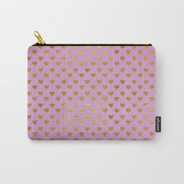 Gold Hearts Passion Pink Carry-All Pouch