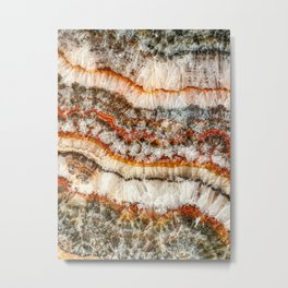 Agate Crystal IV // Red Gray Black Yellow Orange Marbled Diamond Luxury Gemstone Metal Print