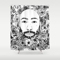 caleb troy Shower Curtains featuring PHOENIX AND THE FLOWER GIRL PHOENIX TROY FLOWER PRINT by Lauryn花Cheney