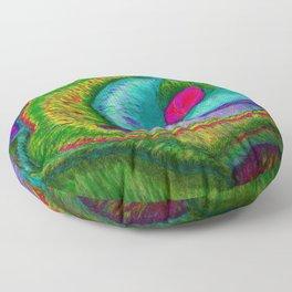 Pinkie Teal Neon Rose (Rainbow Roses) Floor Pillow