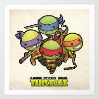 ninja turtles Art Prints featuring Kawaii Mutant Ninja Turtles by Squid&Pig