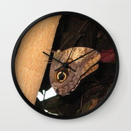 Brown Butterfly Wall Clock