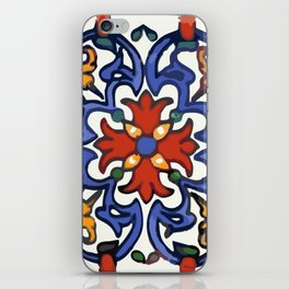 Talavera Mexican tile inspired bold design in blue, green, red, orange iPhone Skin