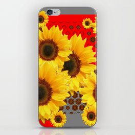 RED-YELLOW SUNFLOWERS GREY ABSTRACT iPhone Skin