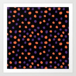 Orange and purple clemson polka dots university college alumni football fan gifts Art Print