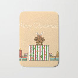 Christmas Yorkshire Terrier (Yorkie) with presents Bath Mat