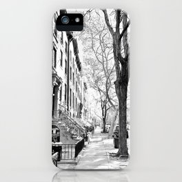 Cobble Hill Brooklyn Winter Black and White Brownstone iPhone Case