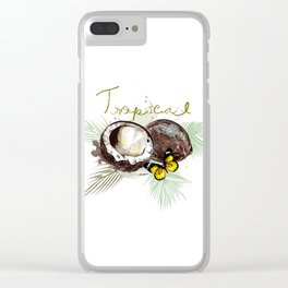 Tropical print with coconut Clear iPhone Case