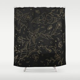 Gold foil floral pattern and geometric triangles on grey Shower Curtain