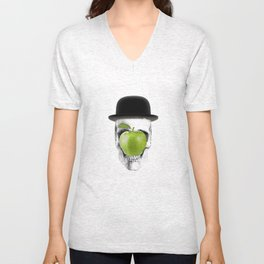 Magritte Skull Unisex V-Neck