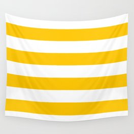 Aspen Gold Yellow and White Wide Horizontal Cabana Tent Stripe Wall Tapestry