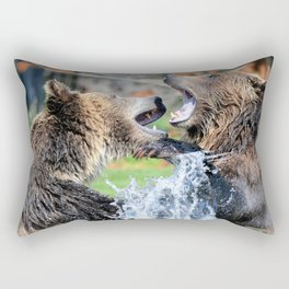 Sparring Grizzly Bears Rectangular Pillow