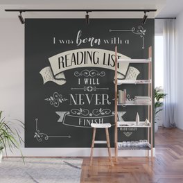 Born With a Reading List - Charcoal Wall Mural