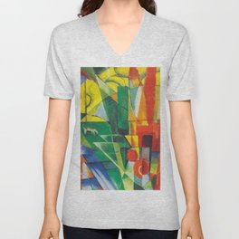 """Franz Marc """"Landscape with House and Two Cows (also known as Landscape with House, Dog and Cattle)"""" Unisex V-Neck"""