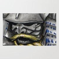 samurai Area & Throw Rugs featuring Samurai by rchaem