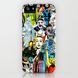 Vintage Horror Characters Collage iPhone Case