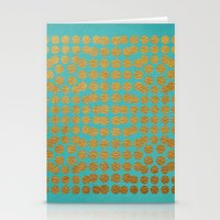 gold dots Stationery Cards featuring Gold Dots on Turquoise by Sandra Arduini