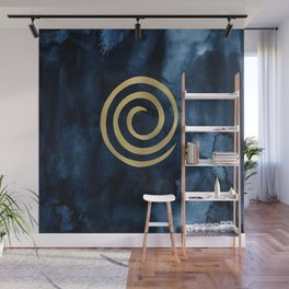 Infinity Navy Blue And Gold Abstract Modern Art Painting Wall Mural