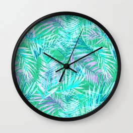 Green palm leafs Wall Clock