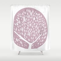 tree of life Shower Curtains featuring Tree of life - lilac by Seven Roses